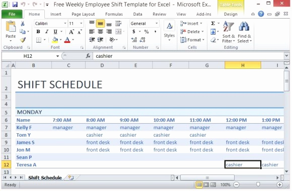 Excel Work Schedule Template Fresh Free Weekly Employee Shift Template for Excel