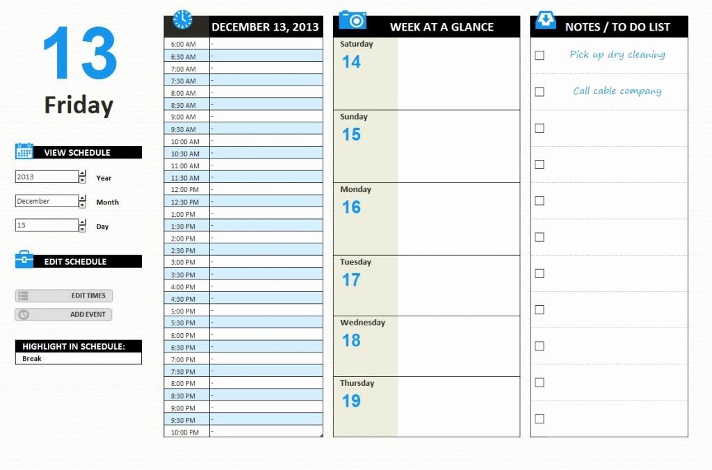 Excel Work Schedule Template Inspirational Daily Work Schedule Template Excel