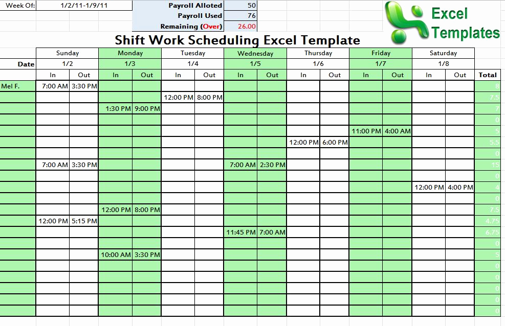 Excel Work Schedule Template Inspirational Shift Schedule Template Word Excel