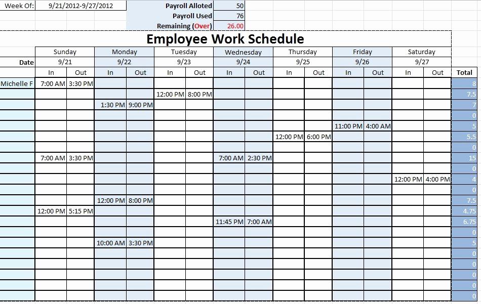 Excel Work Schedule Template New Work Schedule Templates Free Downloads