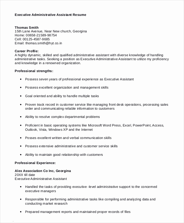Executive Resume Template Word Best Of Executive assistant Resume 7 Free Word Pdf Documents