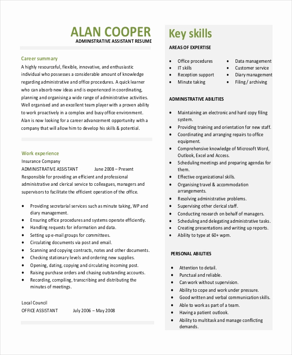 Executive Resume Template Word Fresh Executive Administrative assistant Resume – 10 Free Word