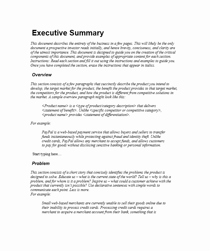 Executive Summary Example Business Plan New 9 Executive Summary Marketing Plan Examples Pdf Word