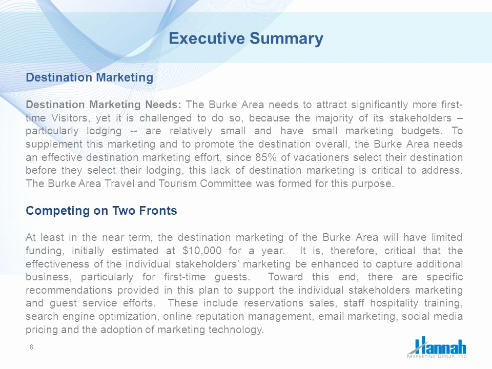 Executive Summary Marketing Plan Best Of Burke area Strategic Marketing Plan Ppt