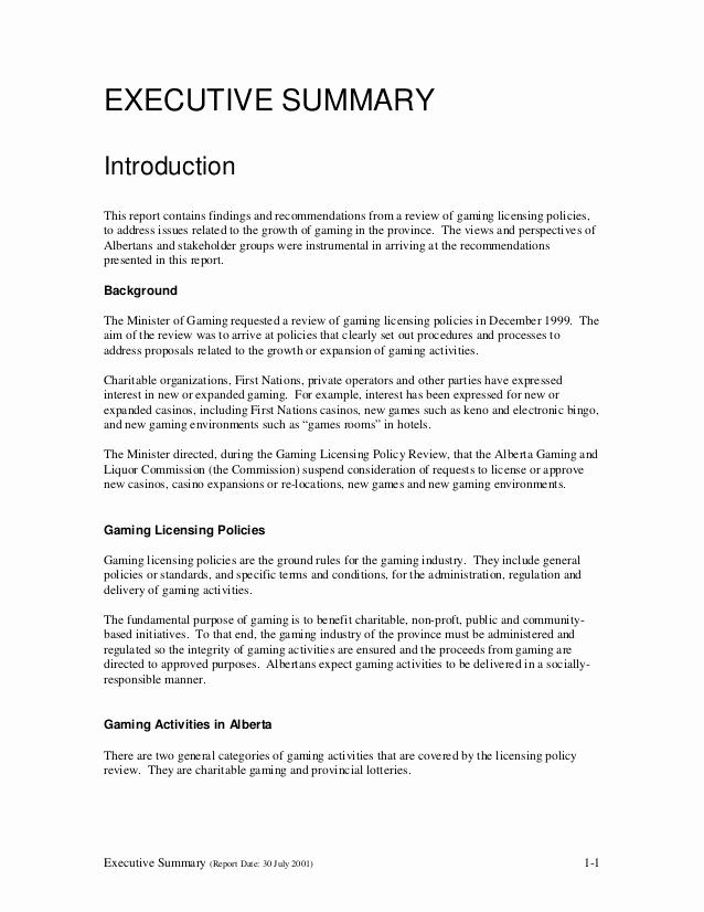 Executive Summary Report Example Elegant Glpr Report V1 1 Executive Summary