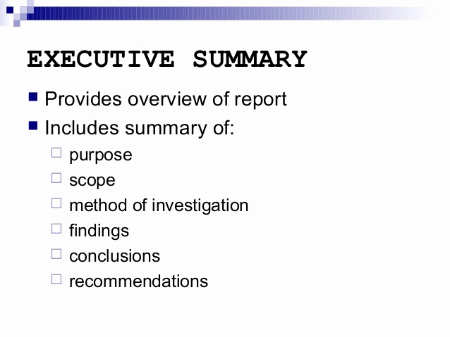 Executive Summary Report Example Elegant Report Writing Executive Summary and Other Sections