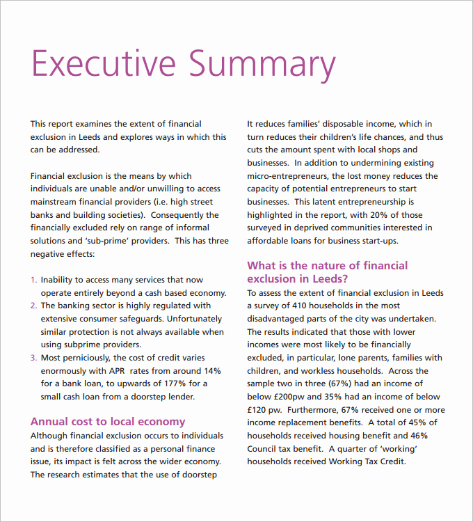Executive Summary Report Example Fresh Own Executive Report Template 3 Free Word Excel