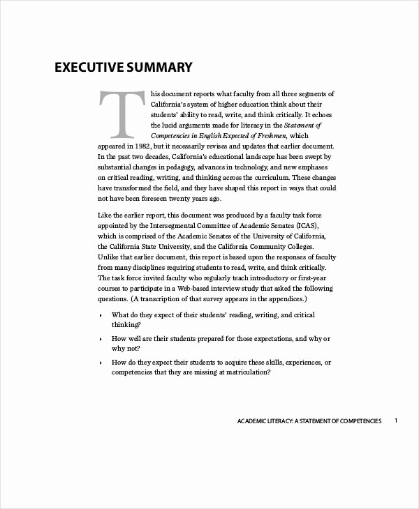Executive Summary Report Example Inspirational 53 Report Examples Pdf