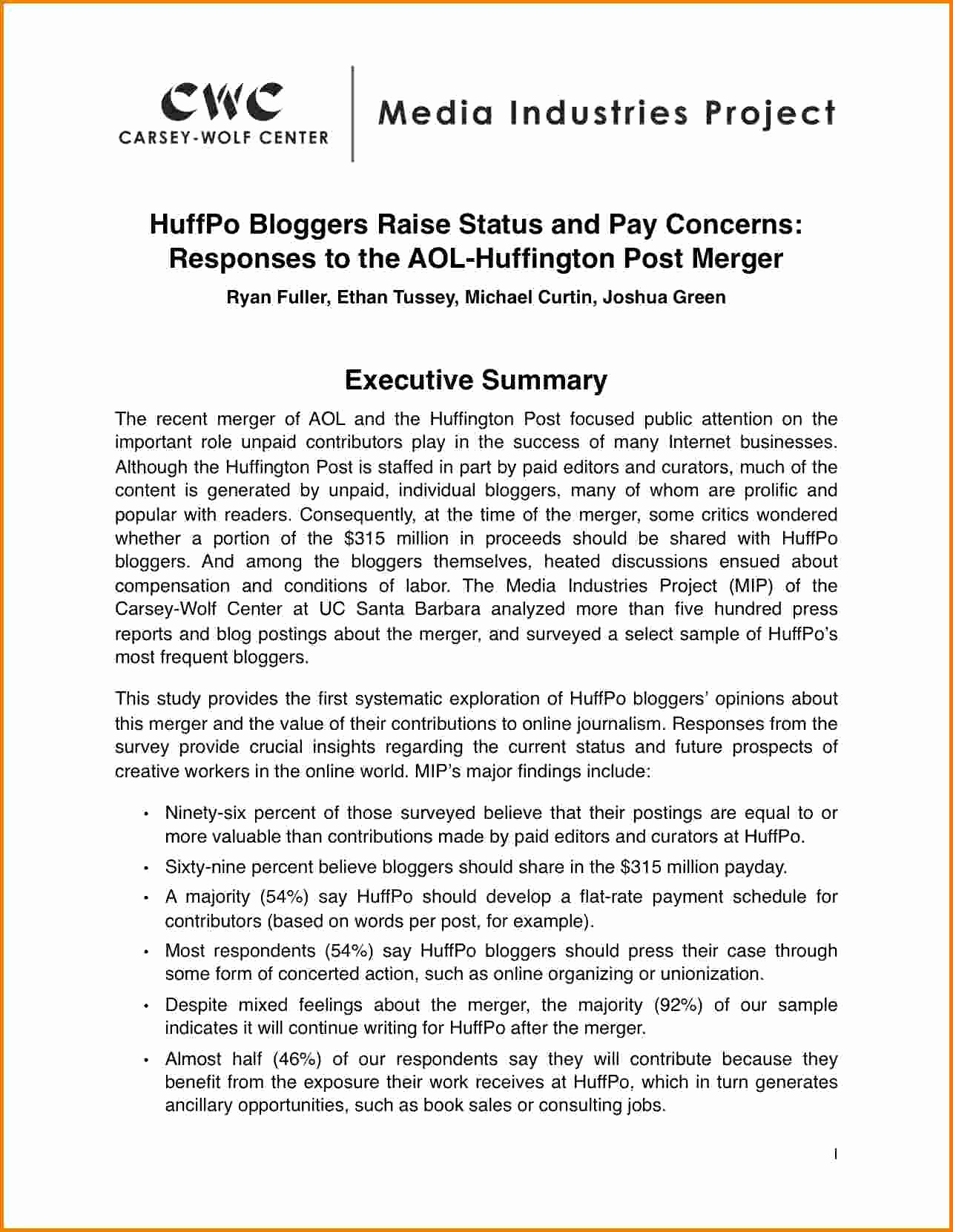 Executive Summary Report Example Lovely How to Write A Executive Summary Report Example