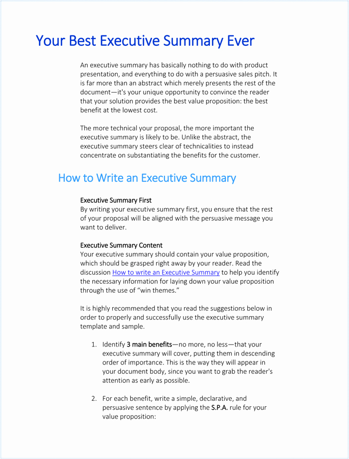 Executive Summary Sample for Proposal Best Of Writing Executive Summary Template