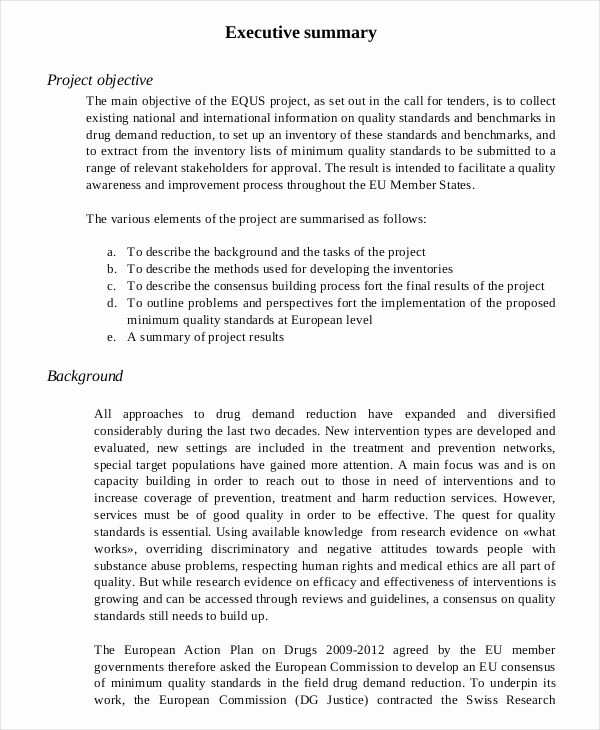 Executive Summary Sample for Proposal Inspirational 20 Executive Summary Templates