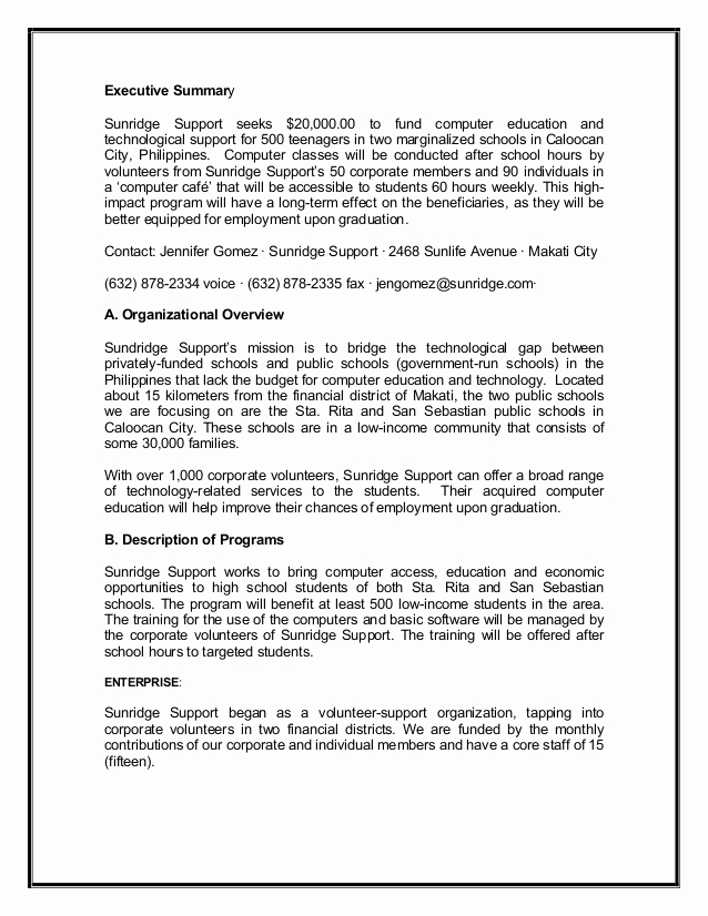 Executive Summary Sample for Proposal Inspirational Grant Proposal Sample2