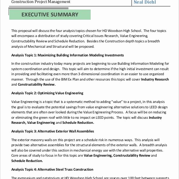 Executive Summary Sample for Proposal Lovely How to Write An Executive Summary