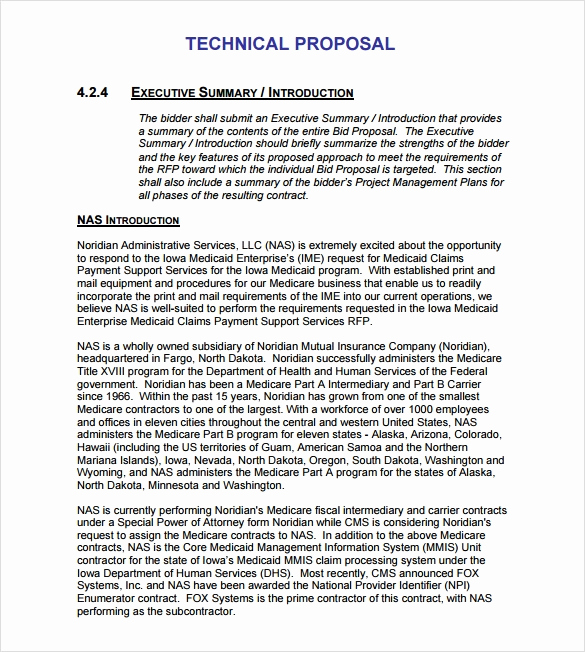 Executive Summary Sample for Proposal Luxury 9 Technical Proposal Samples