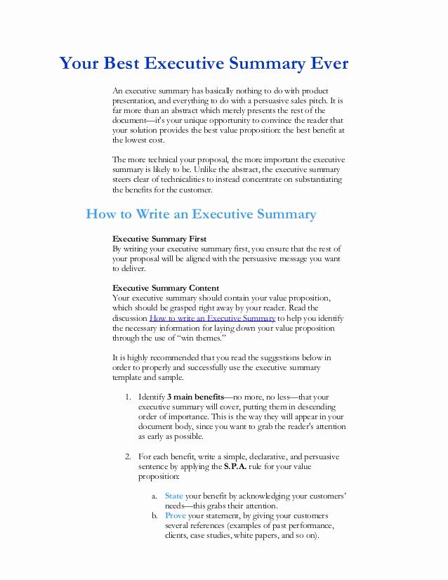 Executive Summary Sample for Proposal Unique Executive Summary