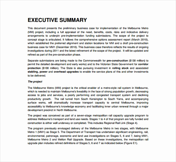 Executive Summary Sample Pdf Awesome 13 Business Case Templates Pdf Doc