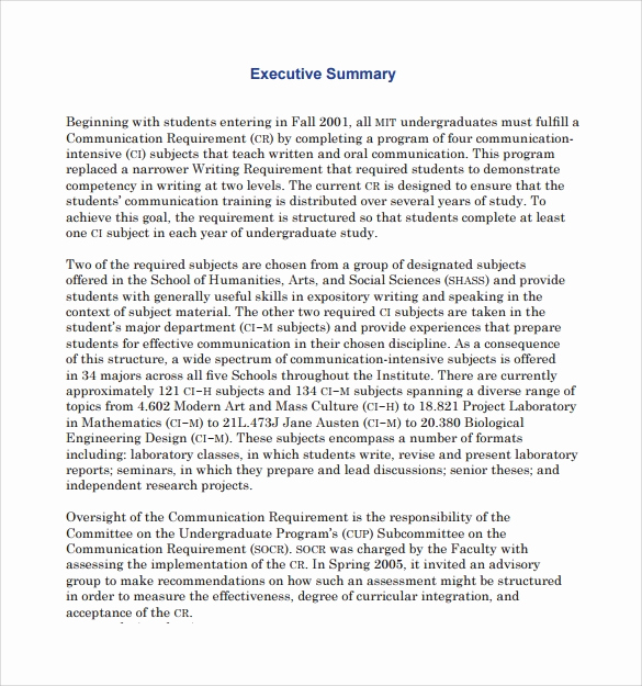 Executive Summary Sample Pdf Lovely Sample Executive Summary Template 7 Free Documents In