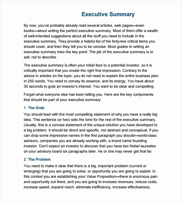 Executive Summary Sample Pdf New 43 Free Executive Summary Templates In Word Excel Pdf