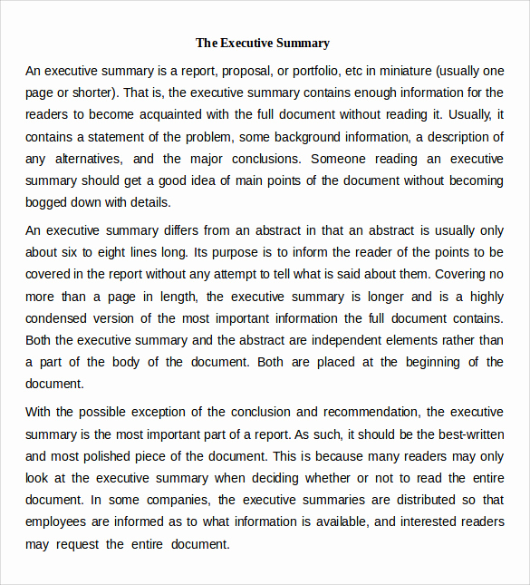 Executive Summary Template Word Lovely Sample Executive Summary Template 7 Free Documents In