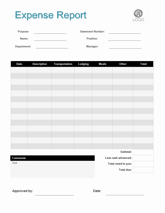 Expense Report Templates Excel Lovely Expense Report form