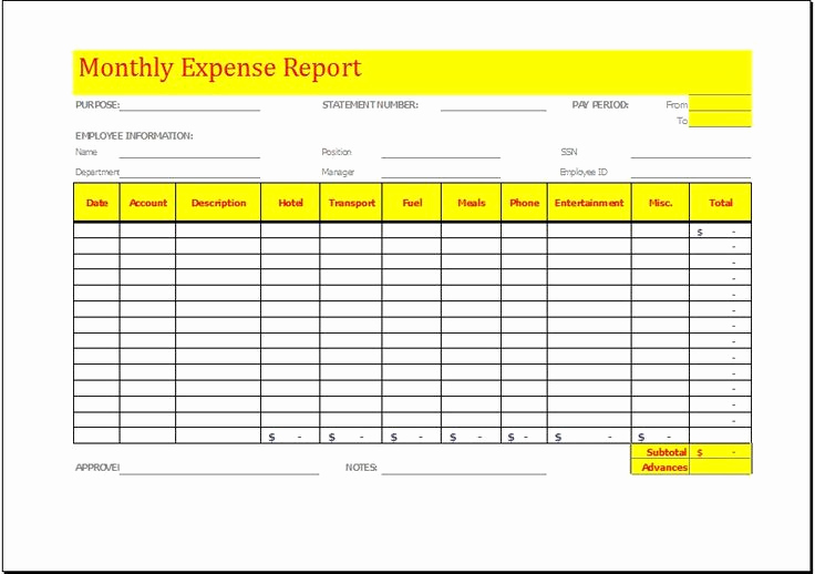 Expense Report Templates Excel Lovely Monthly Expense Report Template Download at