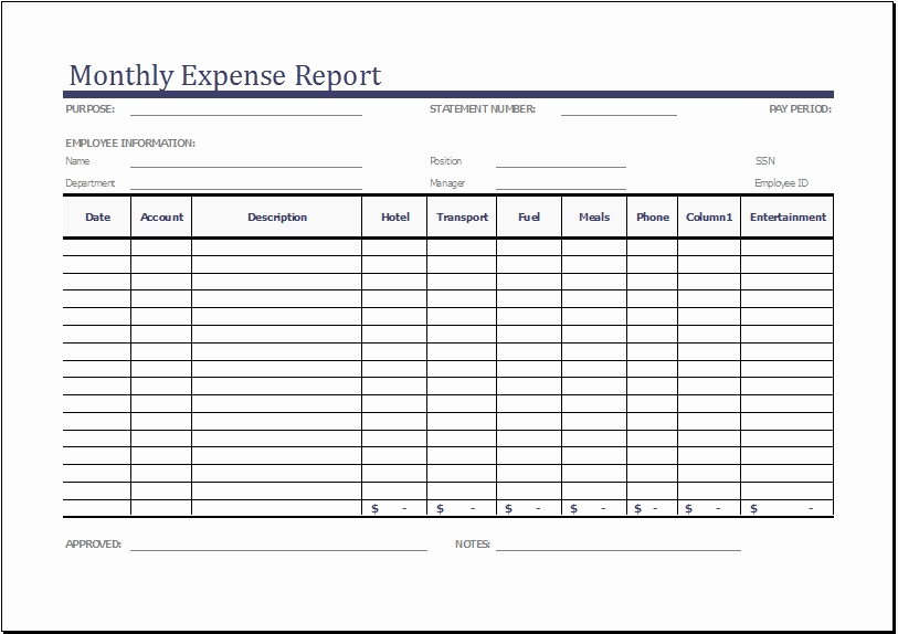 Expense Report Templates Excel Lovely Monthly Expense Report Template