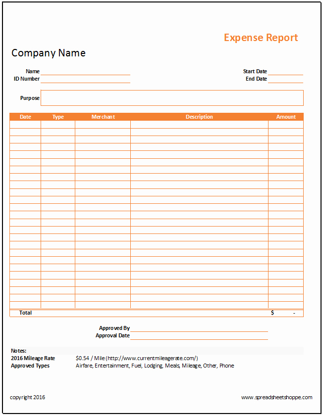 Expense Report Templates Excel Lovely Simple Expense Report Template Spreadsheetshoppe