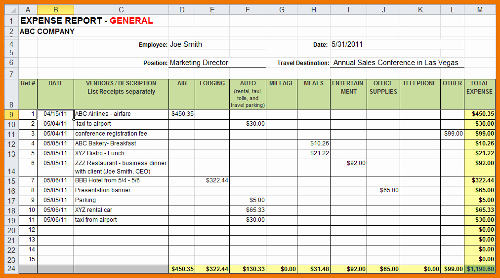 Expense Report Templates Excel Luxury Sample Expense Report