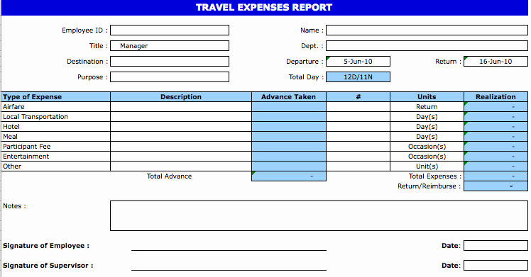 Expenses Report Template Excel Inspirational Travel Expense Templates