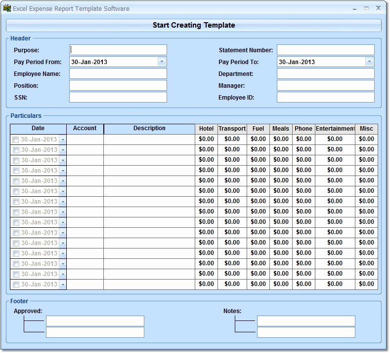 Expenses Report Template Excel New Excel Expense Report Template software