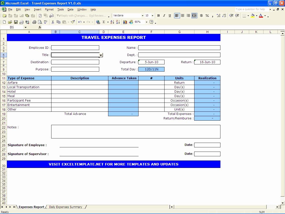 Expenses Report Template Excel Unique Travel Expenses Report