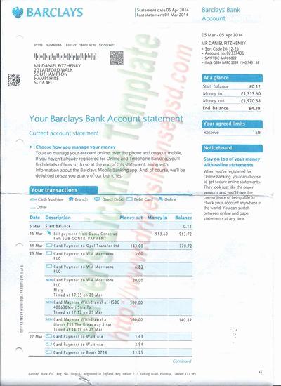 Fake Bank Statement Generator New Barclays Bank Statement Psd