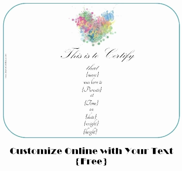 Fake Birth Certificate Maker Elegant Free Customizable Birth Certificate Template