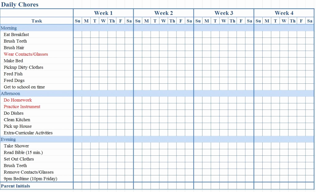 Family Chore Chart Template Beautiful Chore Chart for Kids