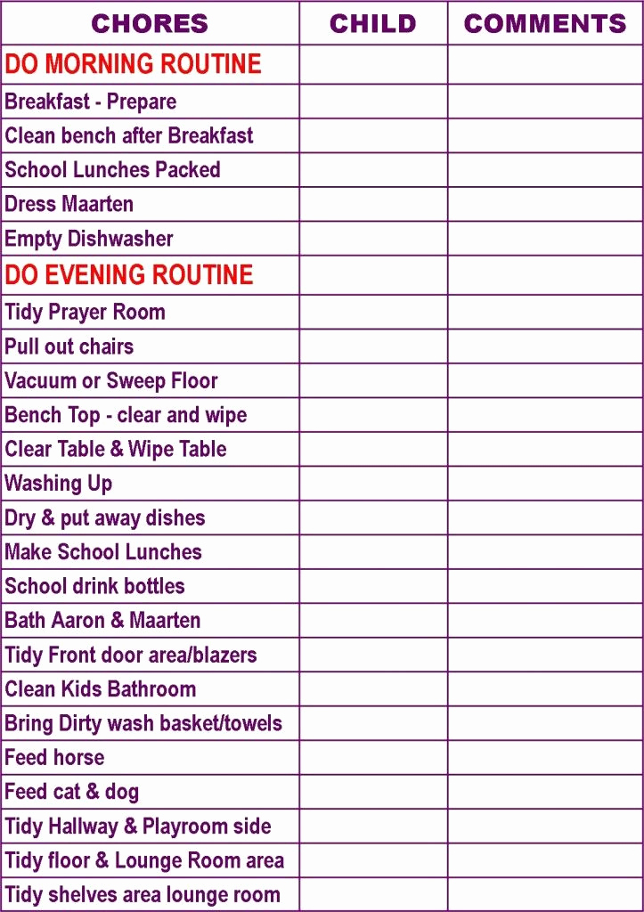 Family Chore Chart Template Elegant Childrens Chore Charts