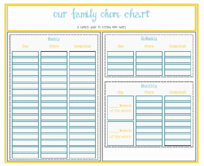 Family Chore Chart Template Fresh Free Printable Pdf or Free Xcel Editable Chore