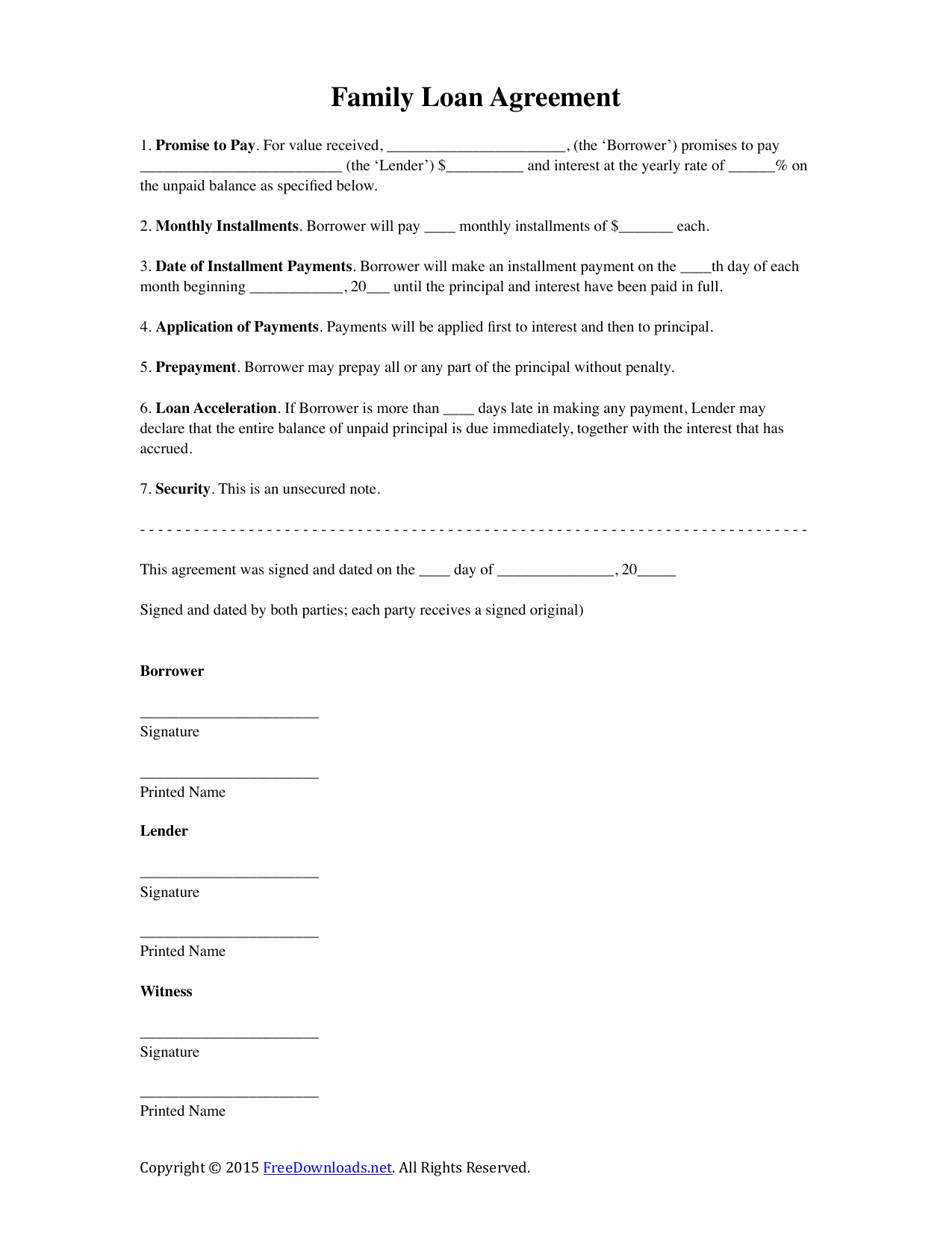 Family Loan Agreement Template Beautiful Download Family Loan Agreement Template Pdf Rtf