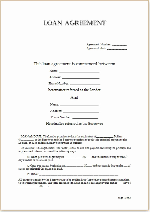 Family Loan Agreement Template Best Of Simple Loan Agreement