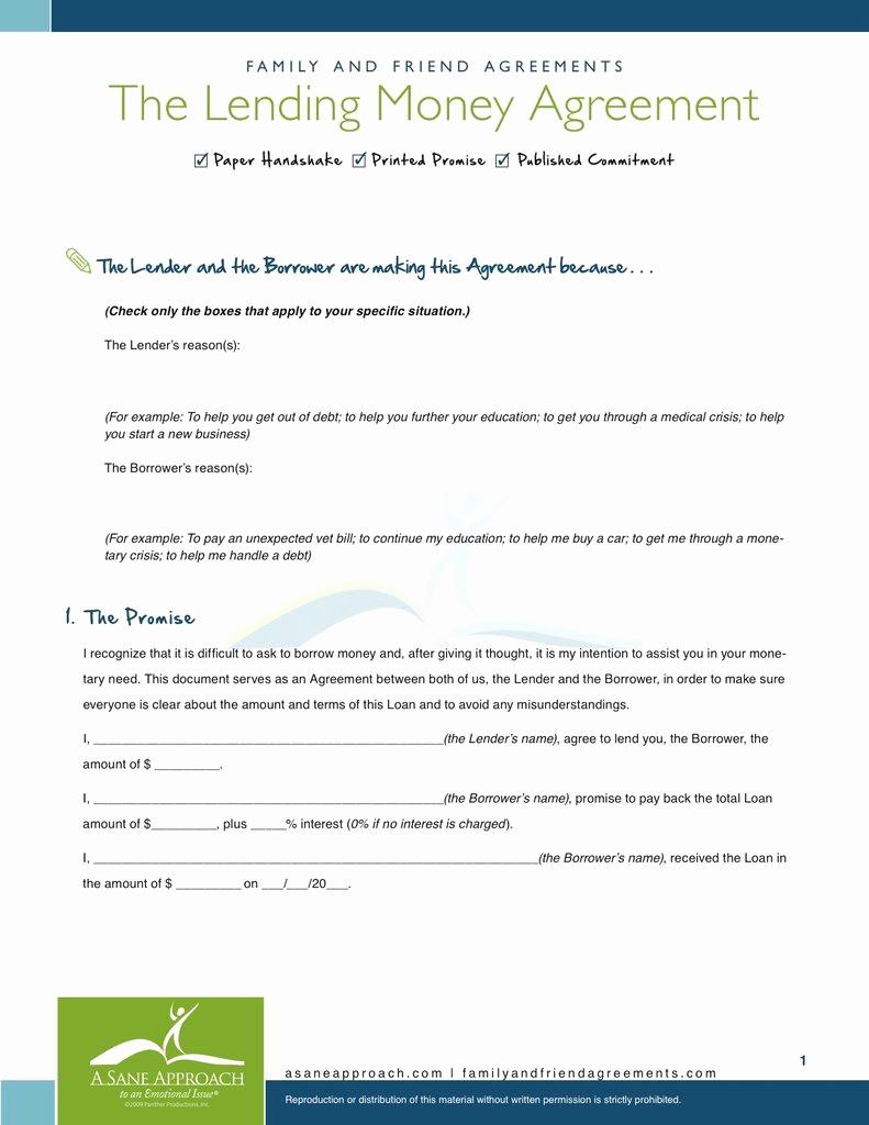 Family Loan Agreement Template Fresh Lending Money Agreement