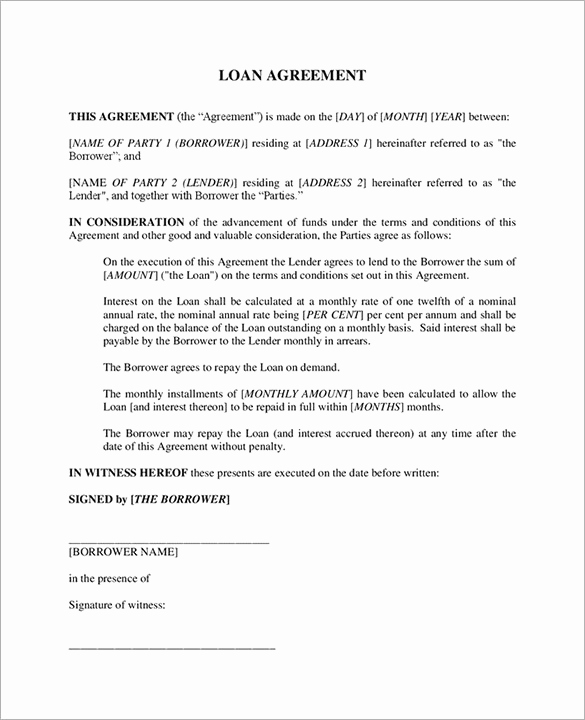 Family Loan Agreement Template Fresh Loan Contract Template – 20 Free Word Pdf Documents