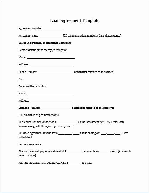Family Loan Agreement Template New Loan Agreement Template Microsoft Word Templates