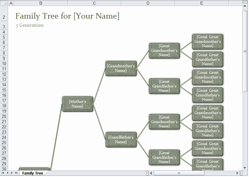 Family Tree Templates Excel Awesome Family Tree Template Excel