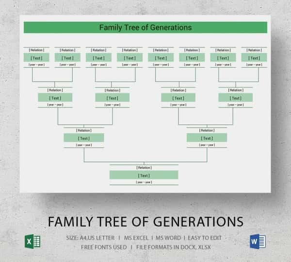 Family Tree Templates Excel Elegant Simple Family Tree Template 25 Free Word Excel Pdf
