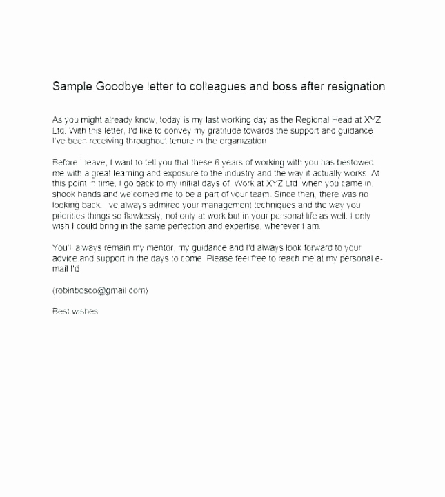 Farewell Email to Colleagues Inspirational Sample Goodbye Mail to Colleagues – Syncla