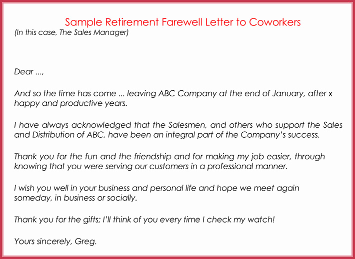 Farewell Letter to Colleagues Awesome Retirement Letter Samples Examples formats & Writing Guide