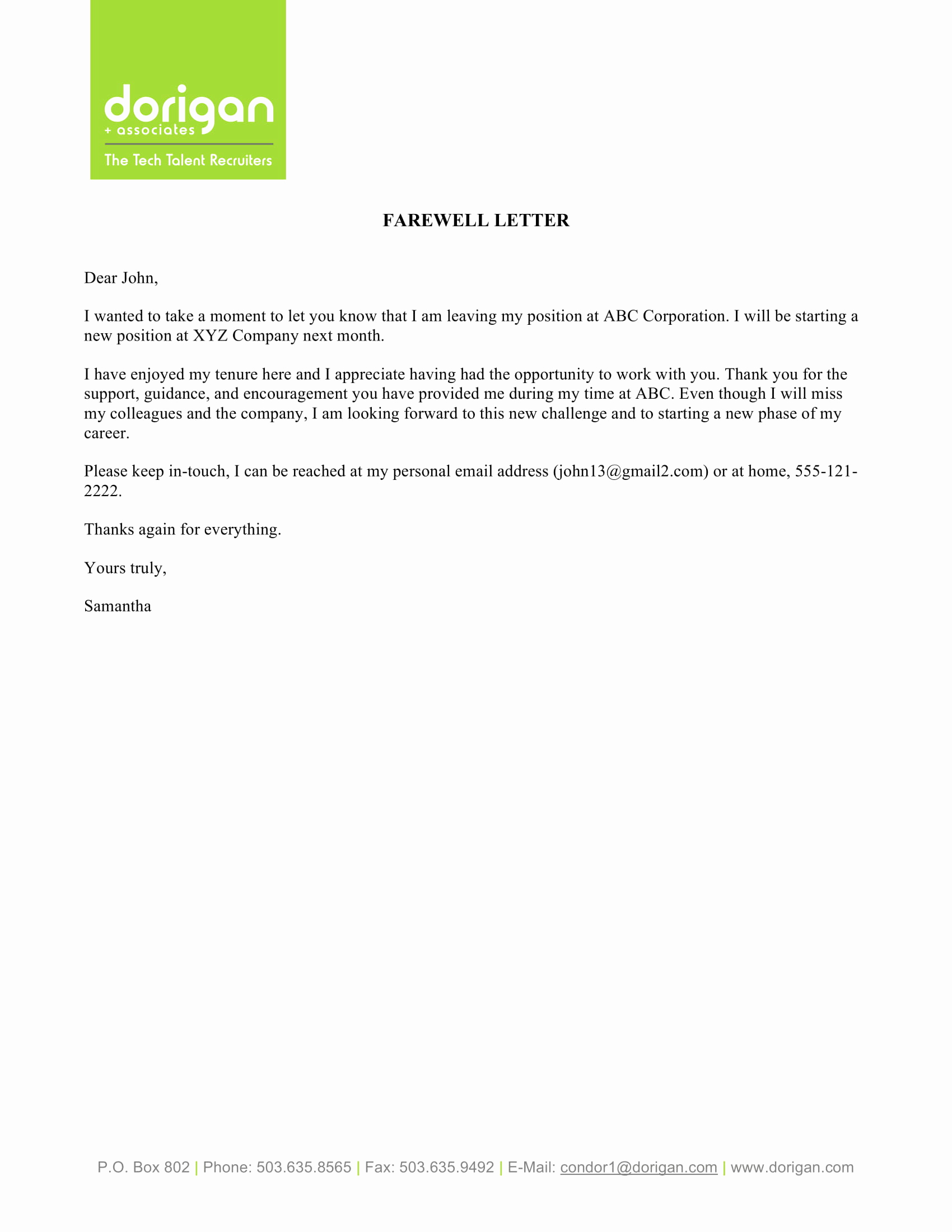 Farewell Letter to Colleagues Beautiful 9 Farewell Email to Coworkers Example