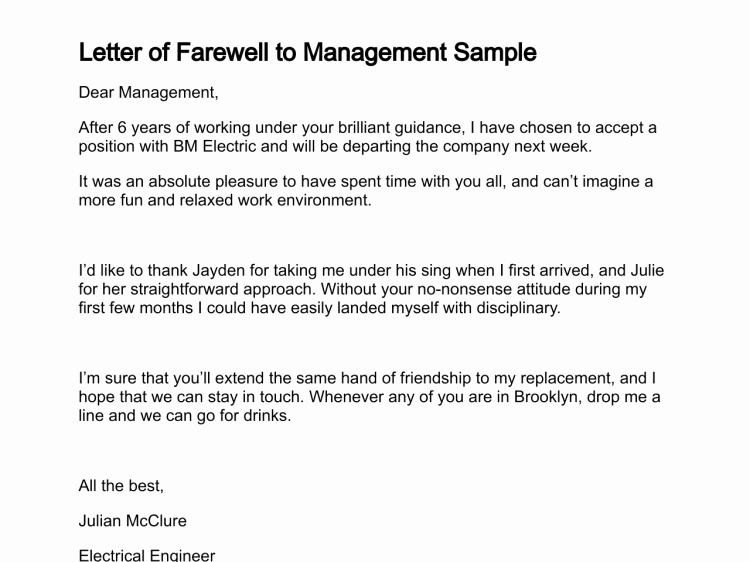 Farewell Letter to Colleagues Luxury Letter Of Farewell