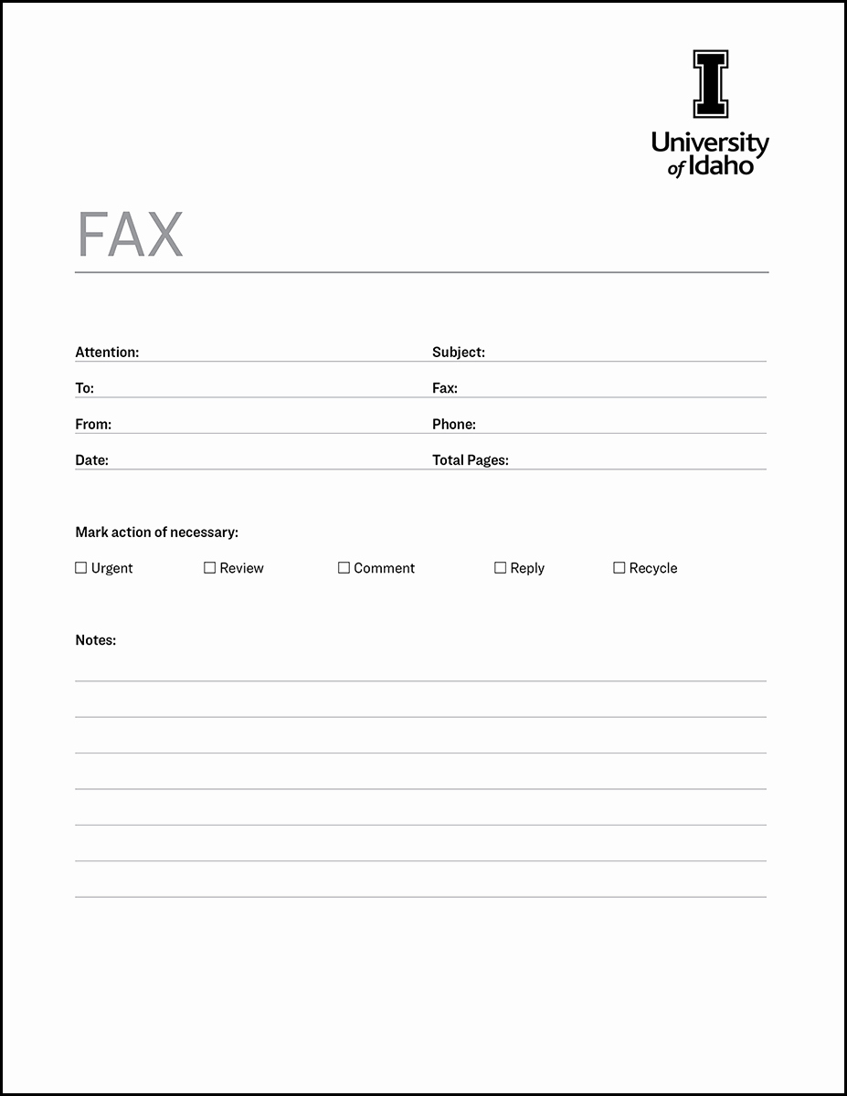 Fax Cover Page Template Beautiful Fax Cover Sheet Brand Resource Center University Of Idaho