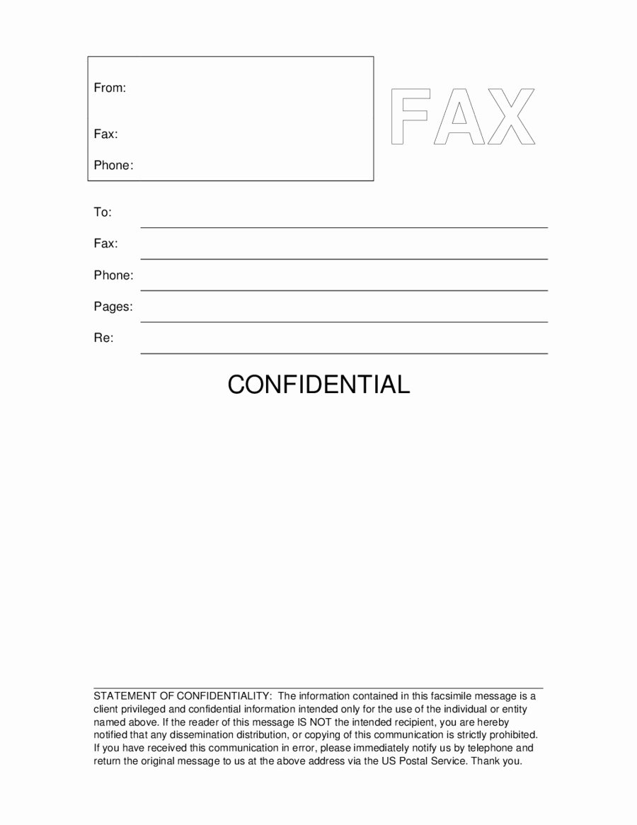 Fax Cover Sheet Confidential Awesome 2019 Fax Cover Sheet Template Fillable Printable Pdf