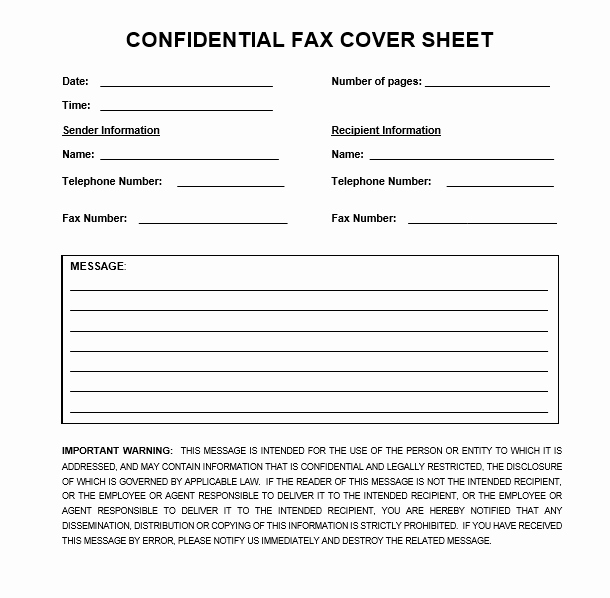 Fax Cover Sheet Confidential Lovely Download Confidential Fax Cover Sheet In Word & Pdf